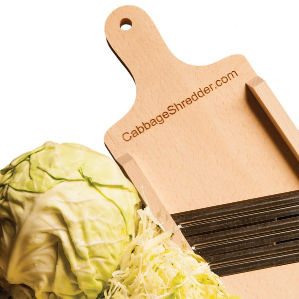 Small sized, compact cabbage shredder next to cabbage