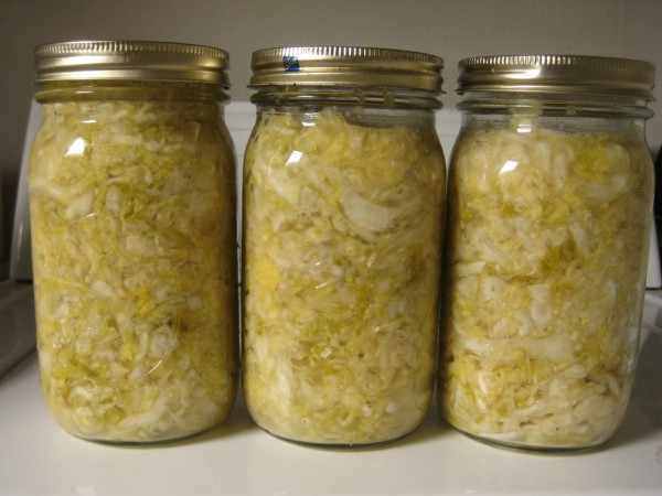 Three glass jars filled with homemade sauerkraut
