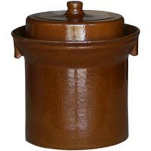 Brown glazed ceramic fermentation crock