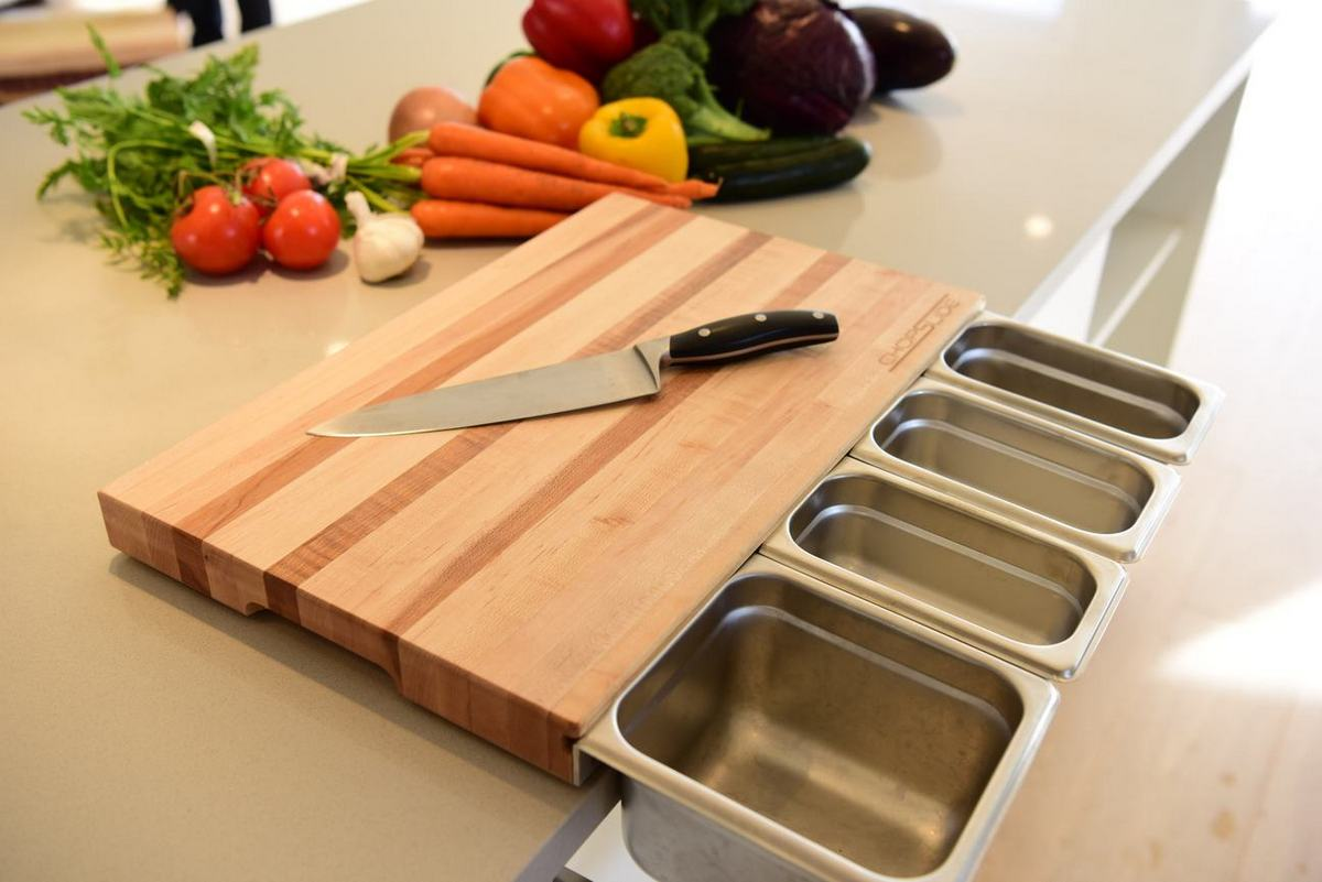 Durable Maple Wood Cutting Board with Containers - ChopSlide