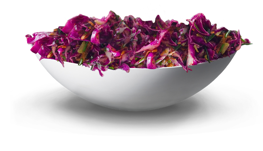 red cabbage coleslaw salad in a white bowl