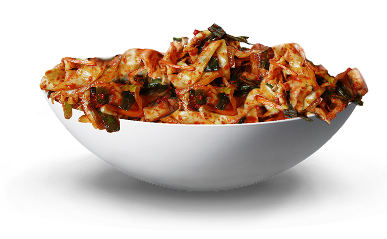 Cabbage Kimchi in a white bowl