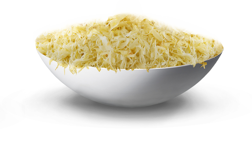 finely shredded sauerkraut in a white bowl